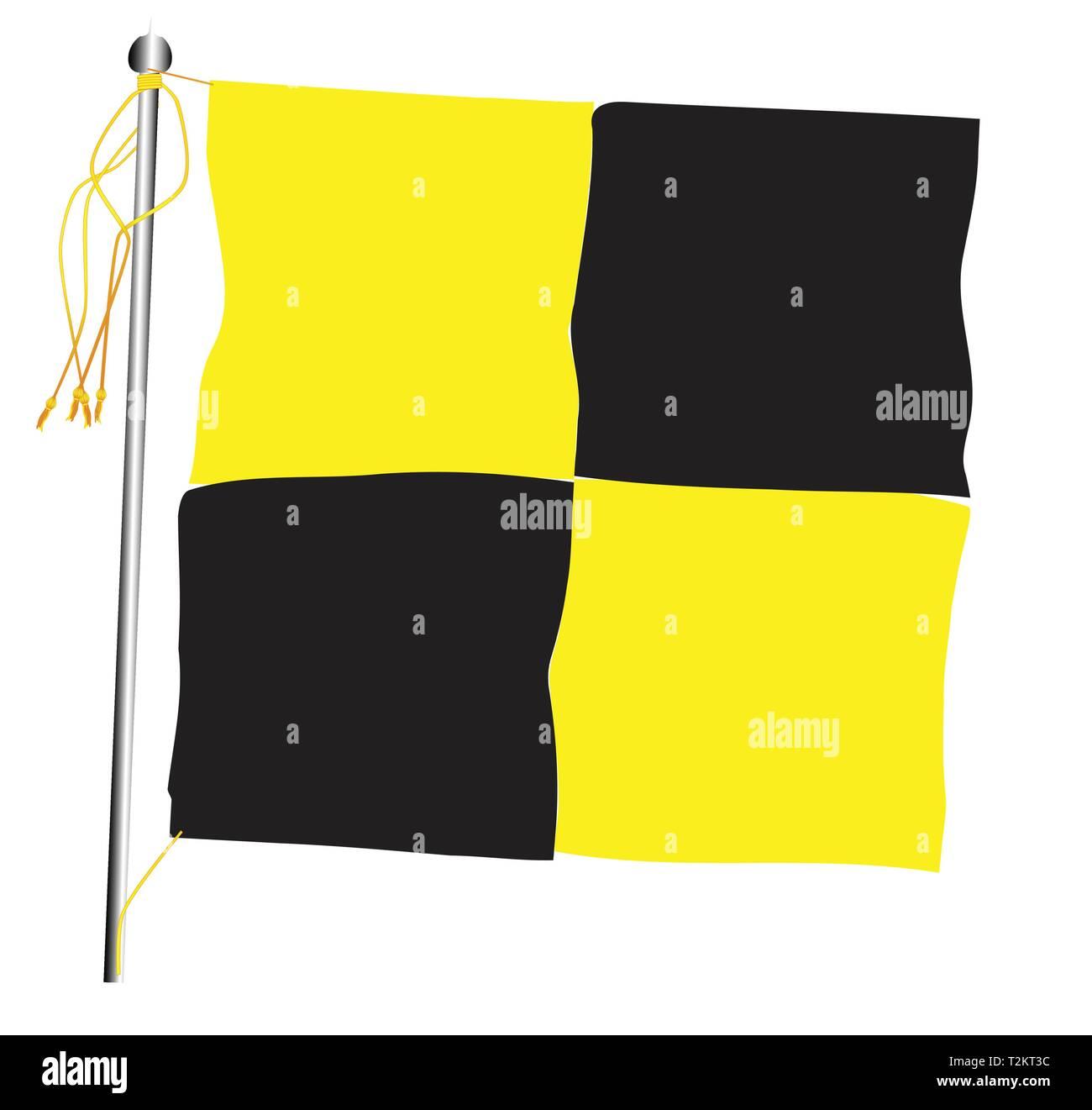 Quarantine flag set against against a white background. - Stock Vector