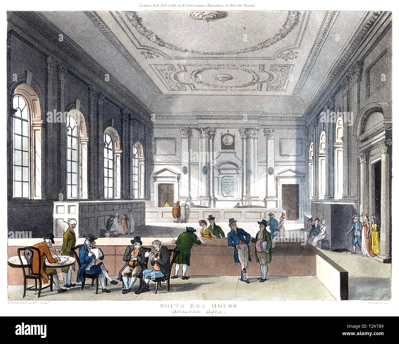 DIVIDEND HALL OF THE SOUTH SEA COMPANY in 1810 - Stock Image