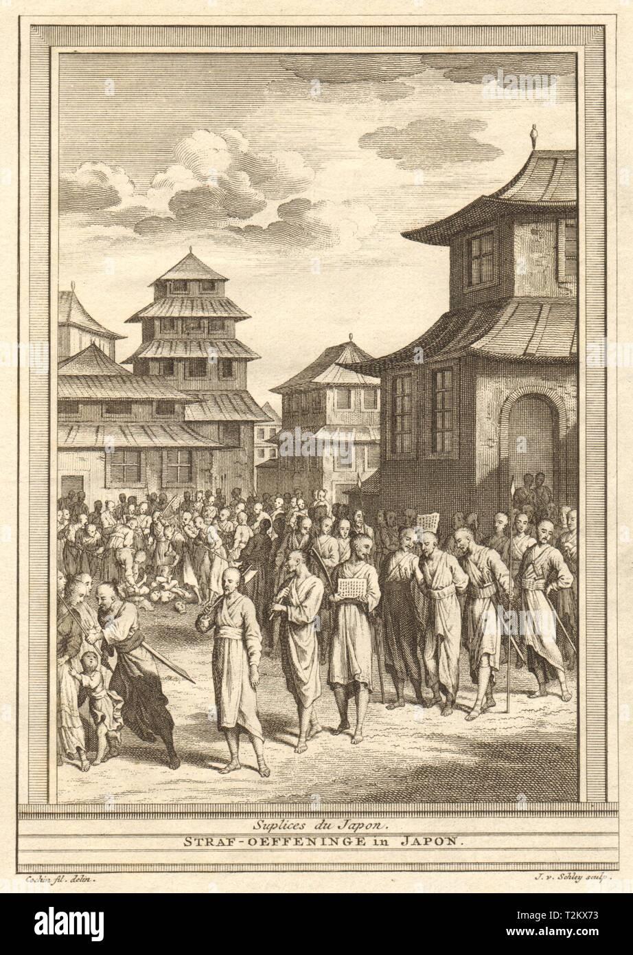 'Suplices du Japon'. Japanese punishments. SCHLEY 1747 old antique print - Stock Image
