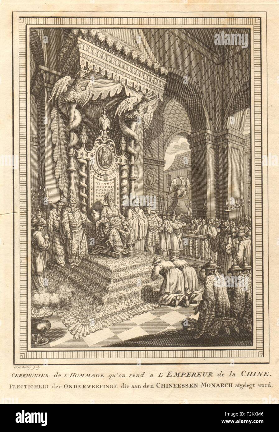 'Cérémonies de l'Hommage'. Homage to the Emperor of China. SCHLEY 1749 print Stock Photo
