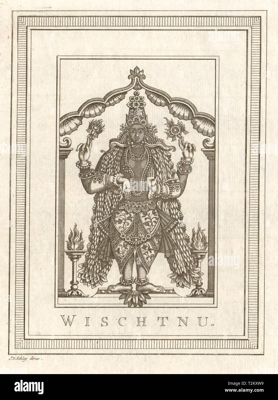 'Wischtnu'. India. Vishnu. Hindu deity god. SCHLEY 1755 old antique print - Stock Image