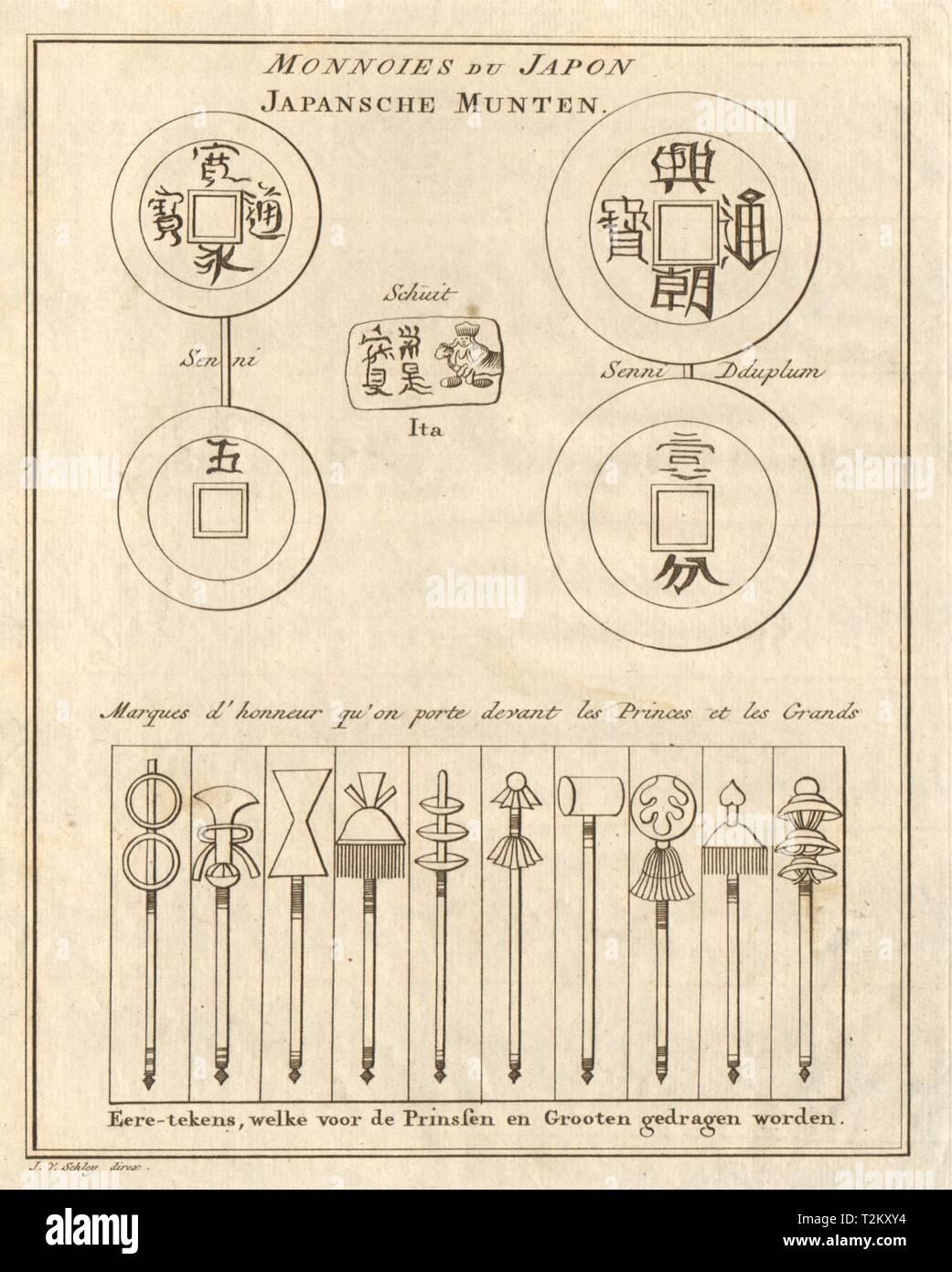 Monnoies du Japon Marques d'honneur Japanese coins Badges of honour SCHLEY 1756 - Stock Image