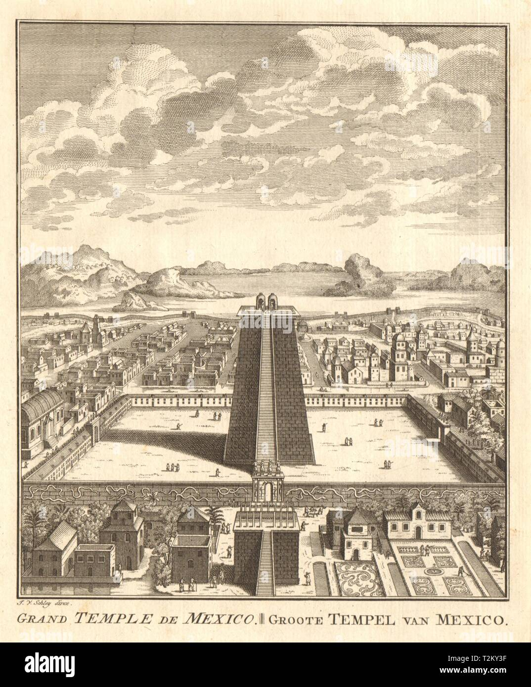 Great Temple or Templo Mayor, Tenochtitlan-Mexico City. SCHLEY 1758 old print Stock Photo