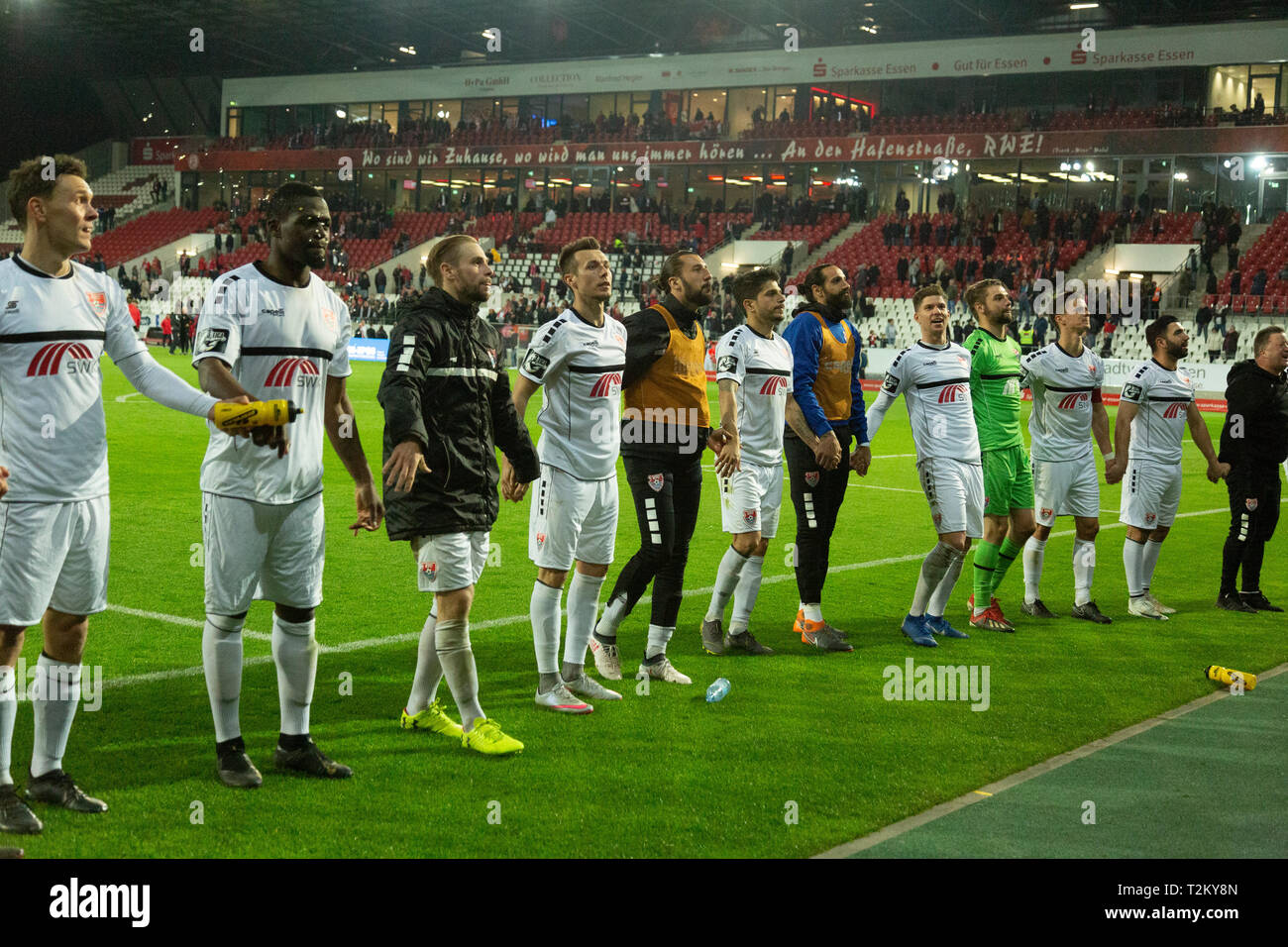 sports, football, Lower Rhine Cup, 2018/2019, semifinal, Rot Weiss Essen vs KFC Uerdingen 0-2, Stadium Essen, Hafenstrasse, after the game Krefeld players and football fans rejoicing at the win Stock Photo