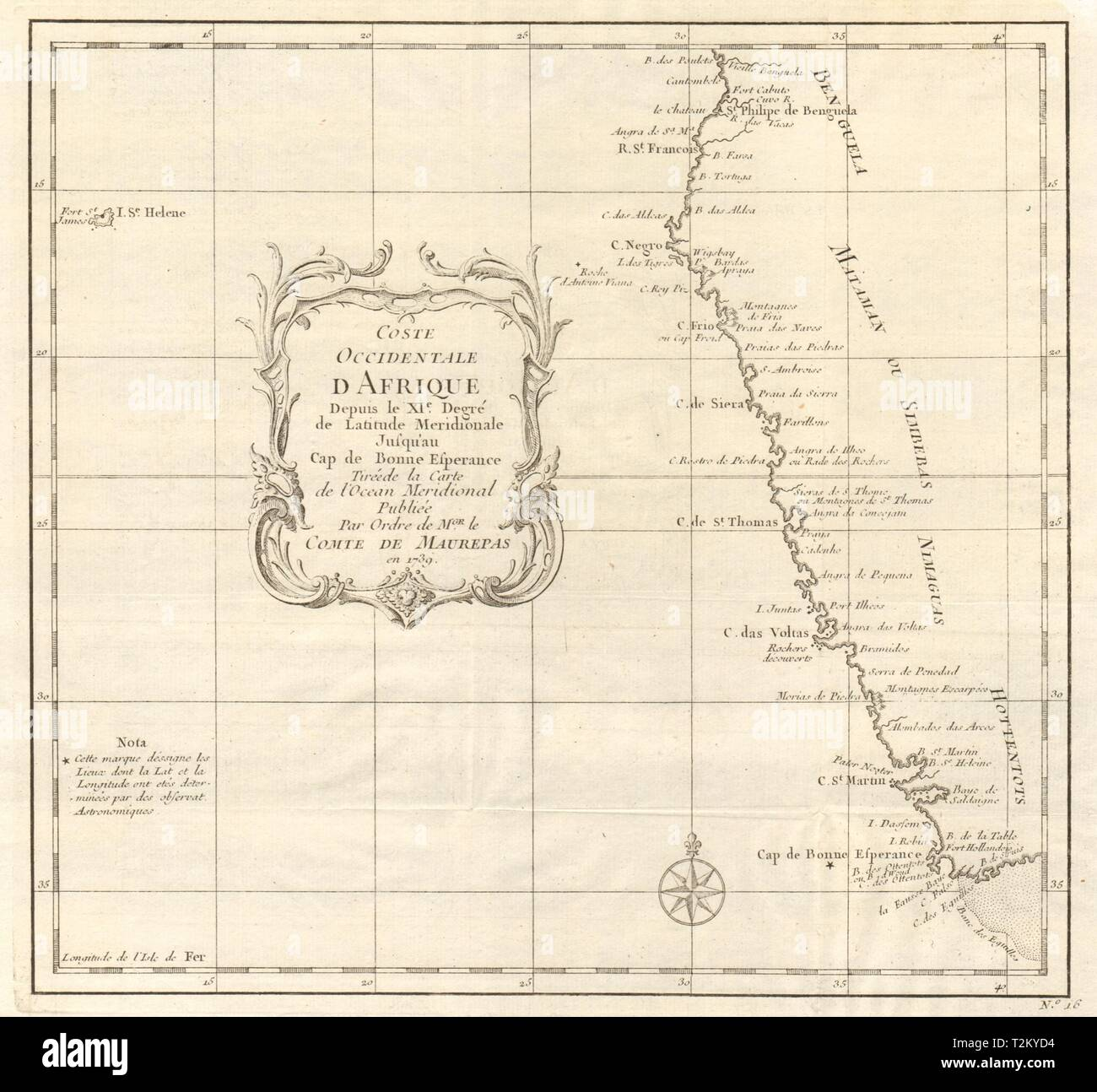 'Coste Occidentale d'Afrique…' Namibia South Africa Angola coast BELLIN 1746 map - Stock Image