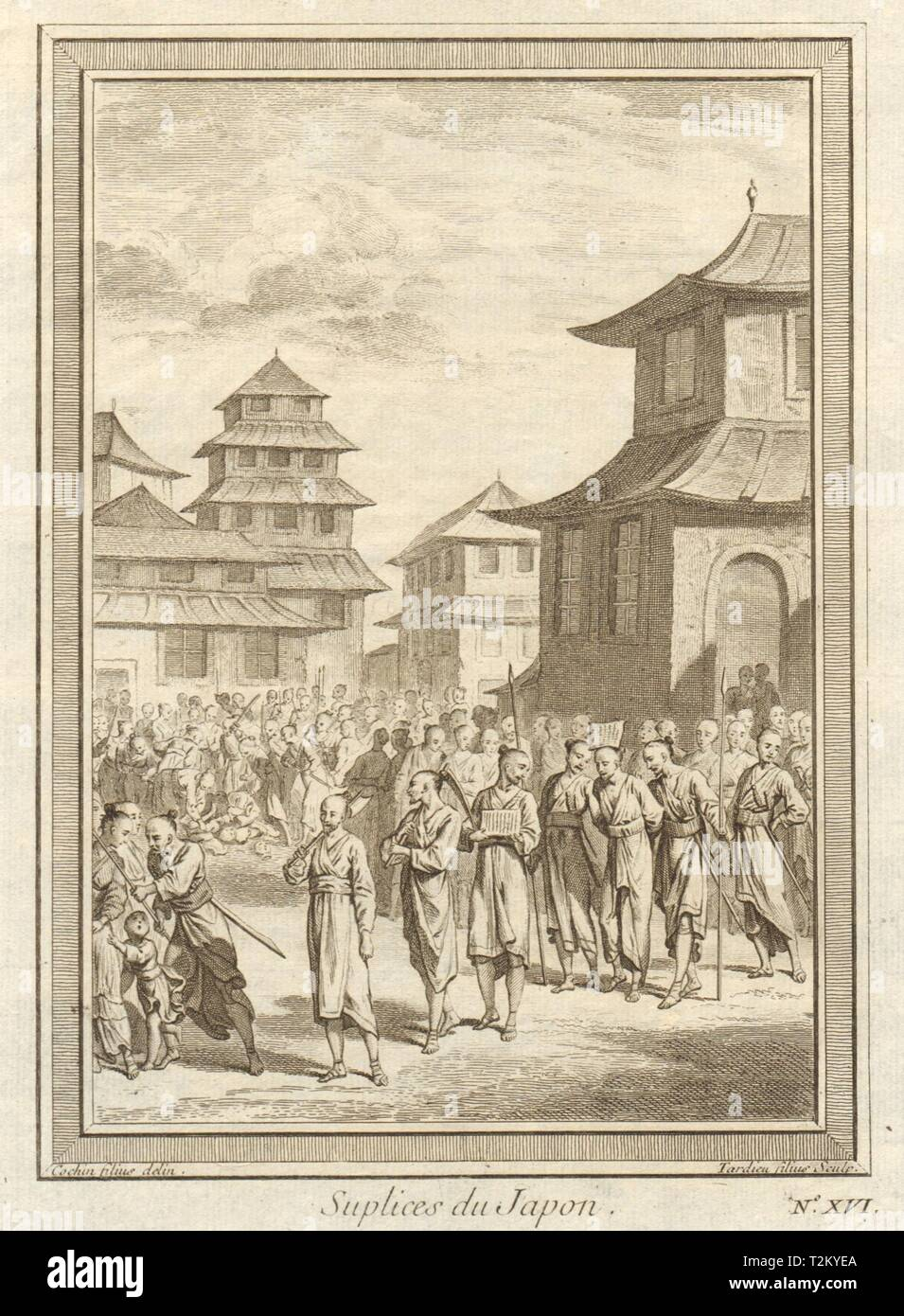 'Suplices du Japon'. Japanese punishments. Execution by sword 1746 old print - Stock Image