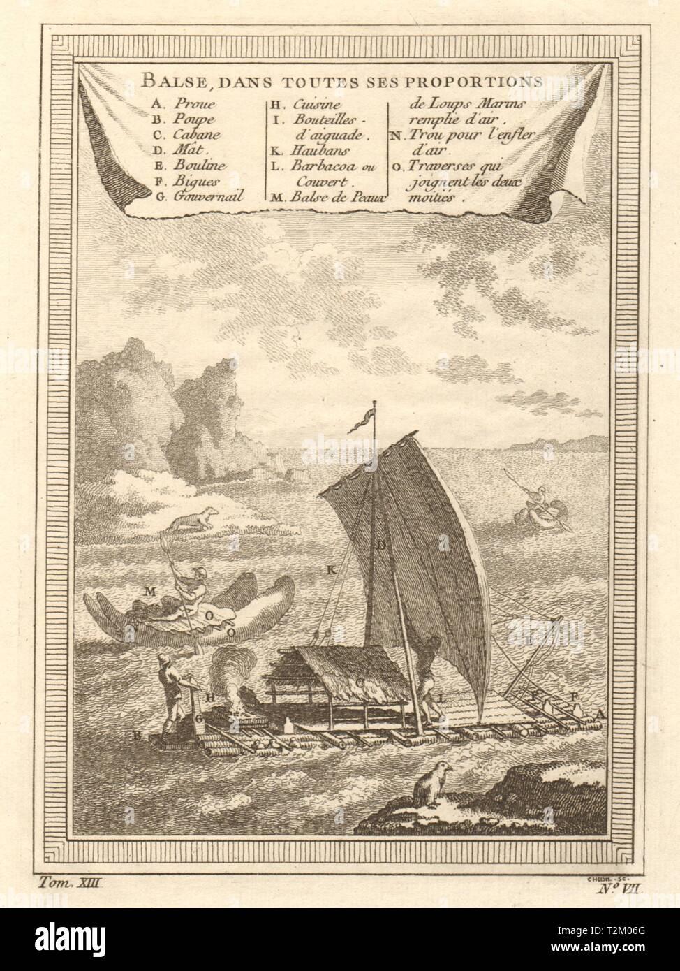 'Balse, dans toutes ses proportions'. Types of Peruvian pre-Columbian rafts 1756 - Stock Image