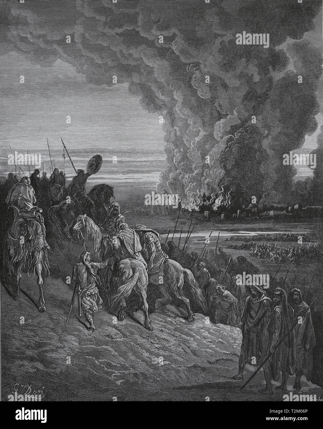 Bible. Book of Joshua. Joshua burns the Town of Ai. Conquest of Canaan. Engraving by Gustave Dore, 1866 - Stock Image
