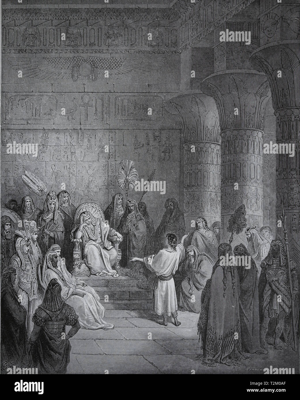 Joseph interprets Pharaoh's dream. The Bible. Book of Genesis. Engraving by Gustave Dore, 1866. - Stock Image