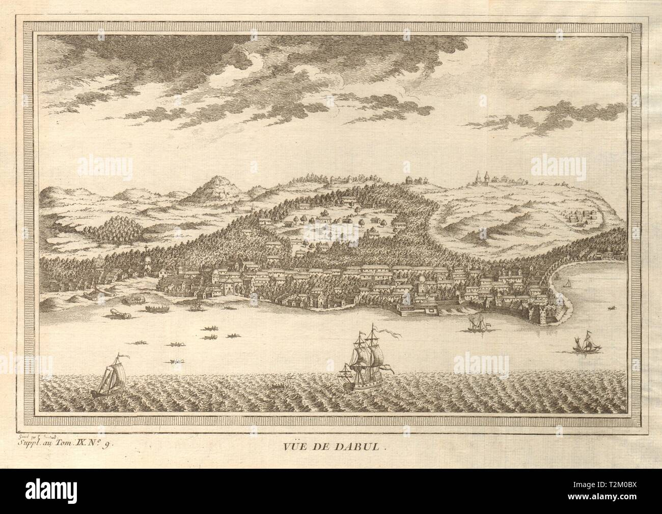 'Vue de Dabul'. View of Dabhol, Ratnagiri district, Maharashtra, India 1761 - Stock Image