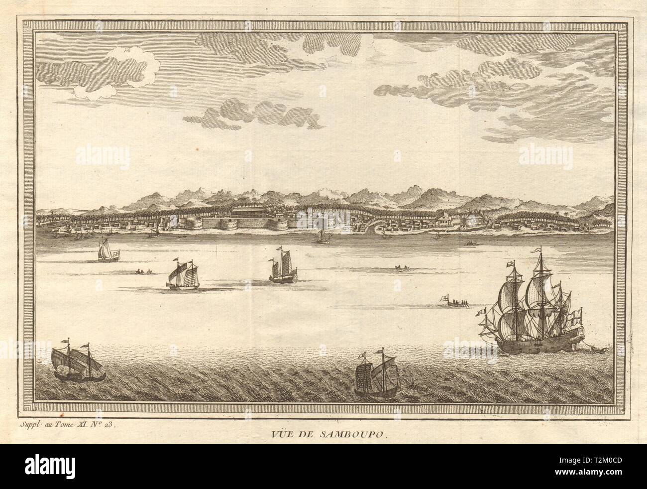 'Vue de Samboupo'. View of Makassar, Sulawesi, Indonesia. Celebes 1761 print - Stock Image