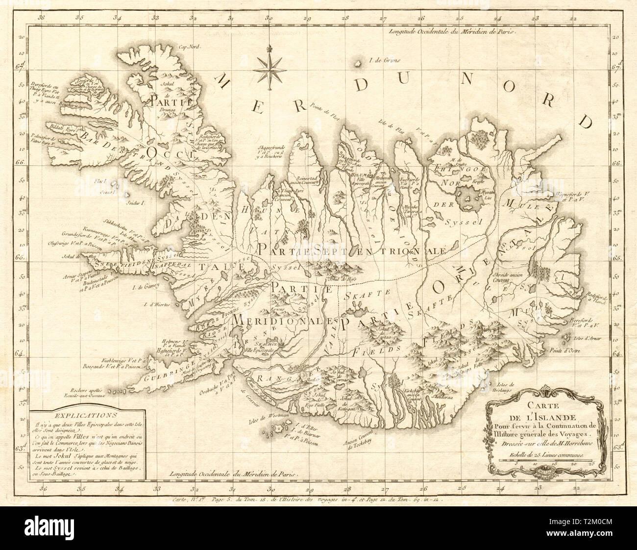 'Carte de l'Islande'. Antique map of Iceland by BELLIN 1768 old - Stock Image