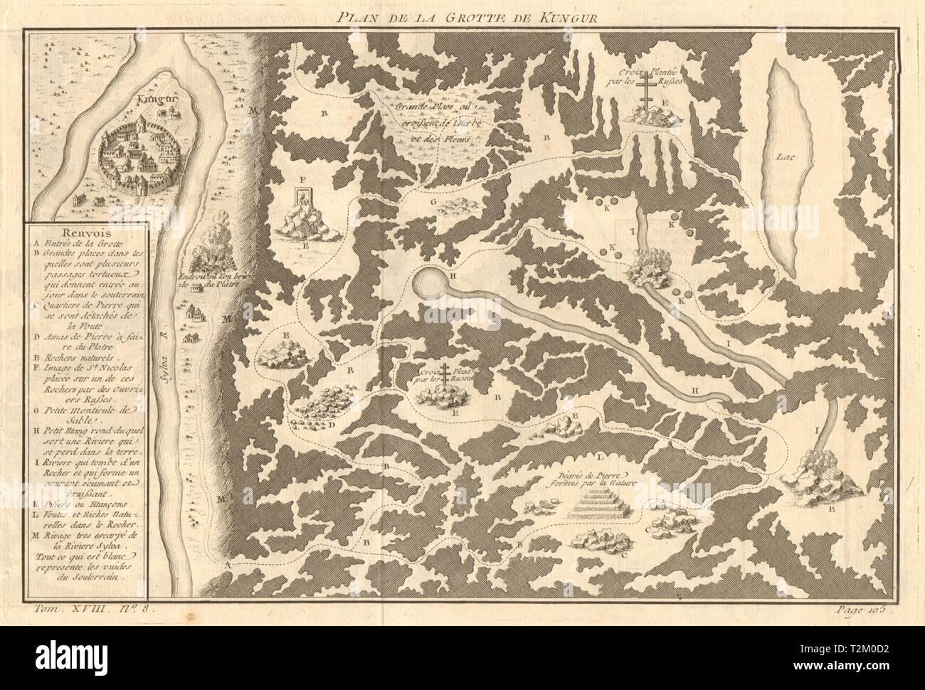 'Plan de la Grotte de Kungur'. Kungur Ice Cave Perm Krai Russia. BELLIN 1768 map - Stock Image