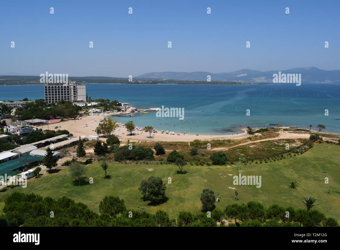 A picture made by drone of the resort village Didim in Turkey, beautiful sea and coastline - peninsula - Stock Image