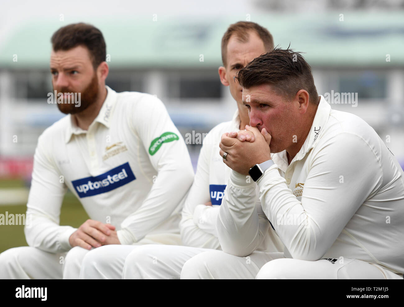 Leicestershire's Mark Cosgrove warms his hands during the media day at the Fischer County Ground, Leicester. - Stock Image