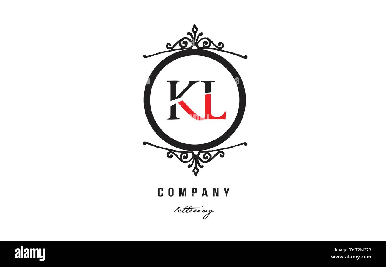 Design of alphabet letter logo combination KL K L with red black white color and decorative circle monogram suitable as a logo for a company or busine - Stock Vector