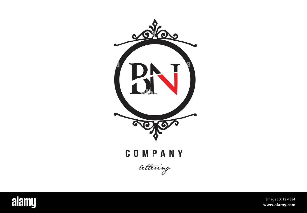 Design Of Alphabet Letter Logo Combination Bn B N With Red Black White Color And Decorative Circle Monogram Suitable As A Logo For A Company Or Busine Stock Vector Image Art