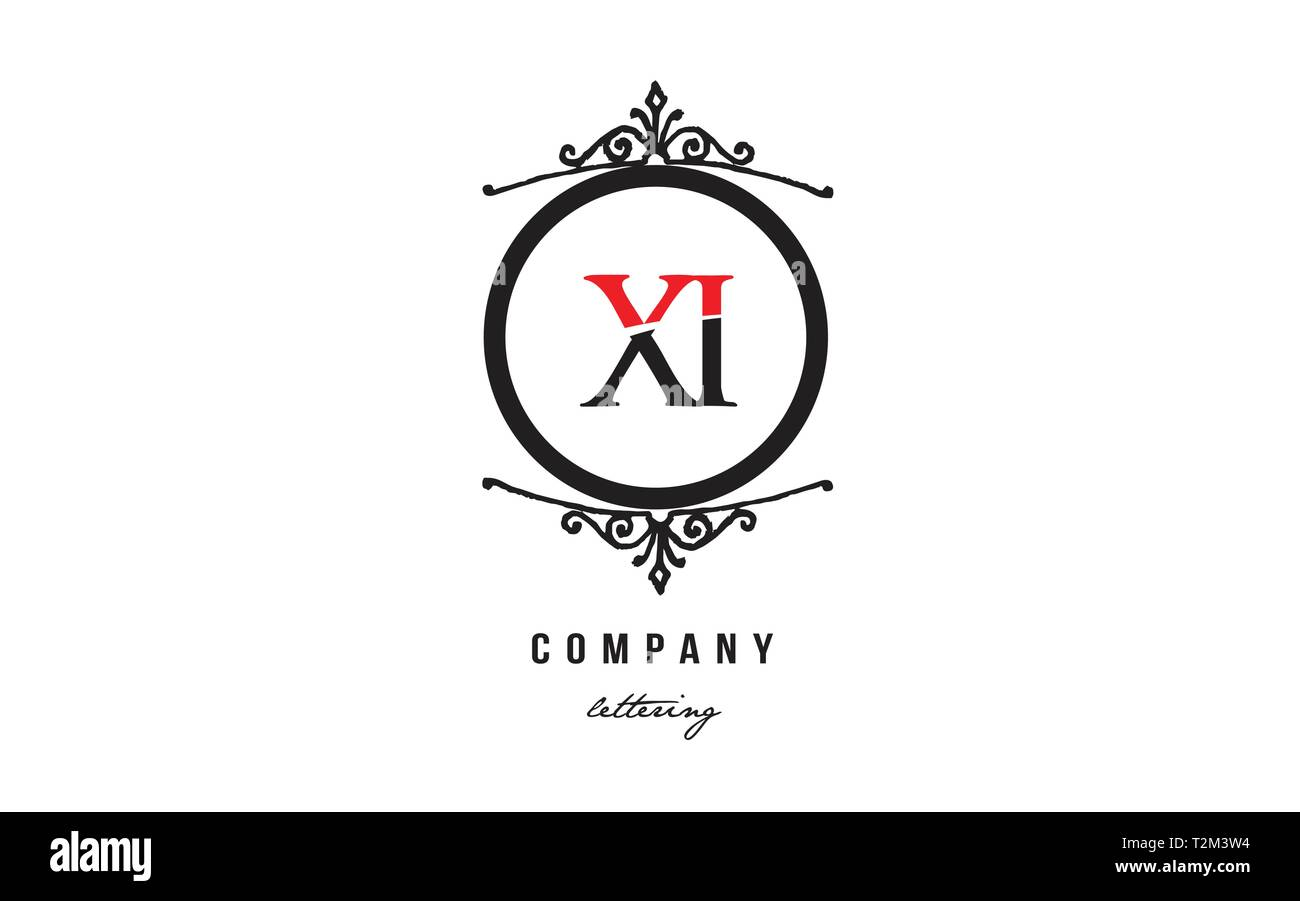 Design of alphabet letter logo combination XI X I with red black white color and decorative circle monogram suitable as a logo for a company or busine - Stock Vector