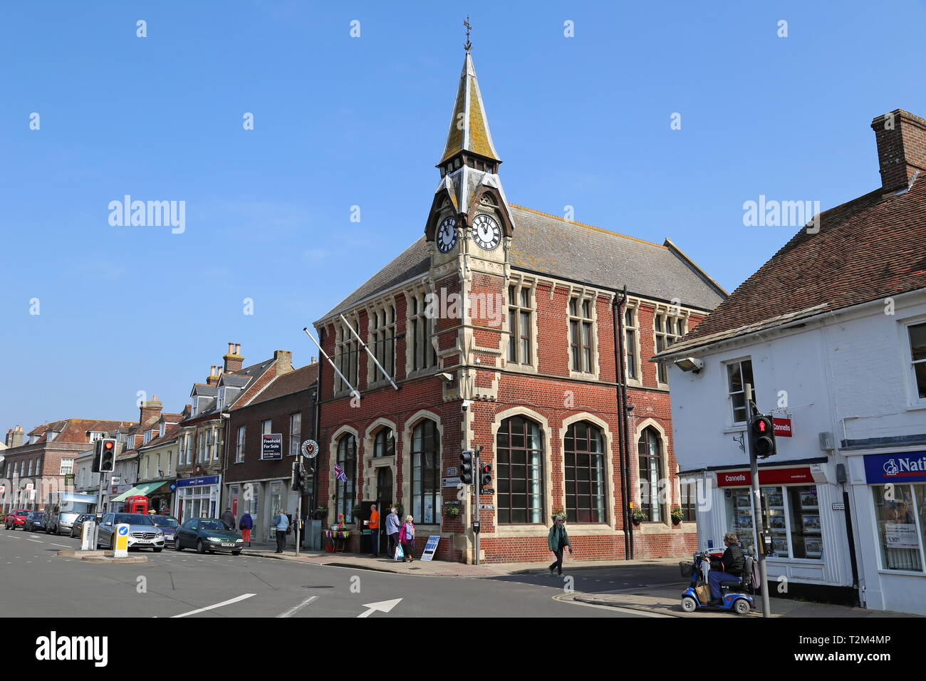 Town Hall and Museum, North Street, Wareham, Isle of Purbeck, Dorset, England, Great Britain, United Kingdom, UK, Europe - Stock Image