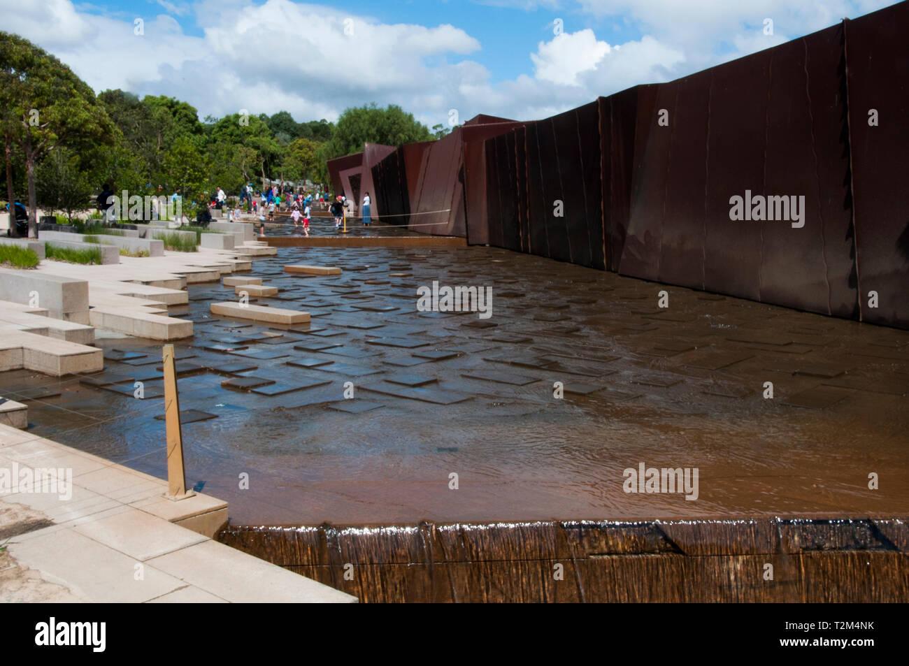Rockpool Waterway and Escarpment Wall at the Australian Garden, Royal Botanic Gardens, Cranbourne, Victoria, Australia Stock Photo