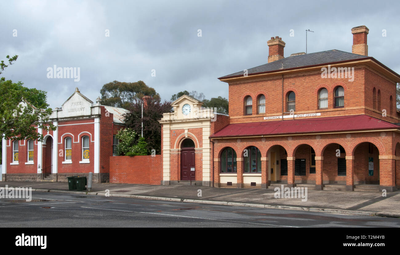 19th-century streetscape of the central goldfields town of Creswick, Victoria, Australia, incorporating the former post office at right Stock Photo