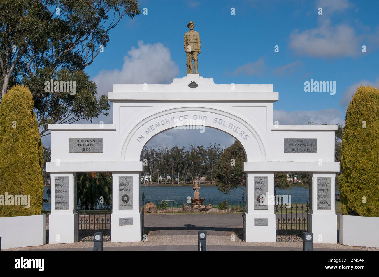 War memorial park at Murtoa, Wimmera region, Victoria, Australia. The imposing park entrance belies the dwindling population of the present-day town. Stock Photo