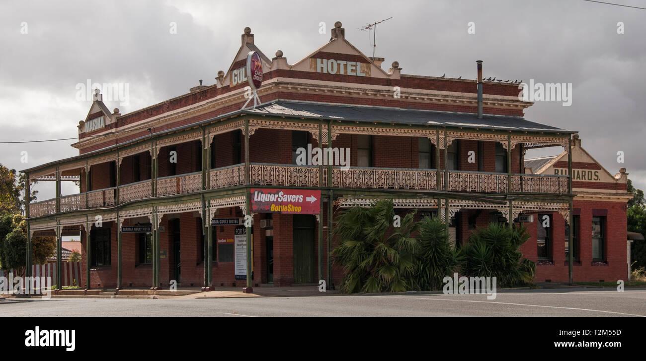 The Marma Gully Hotel, a once-grand Victorian-era pub now closed down, in Murtoa, Wimmera region, Victoria, Australia - Stock Image