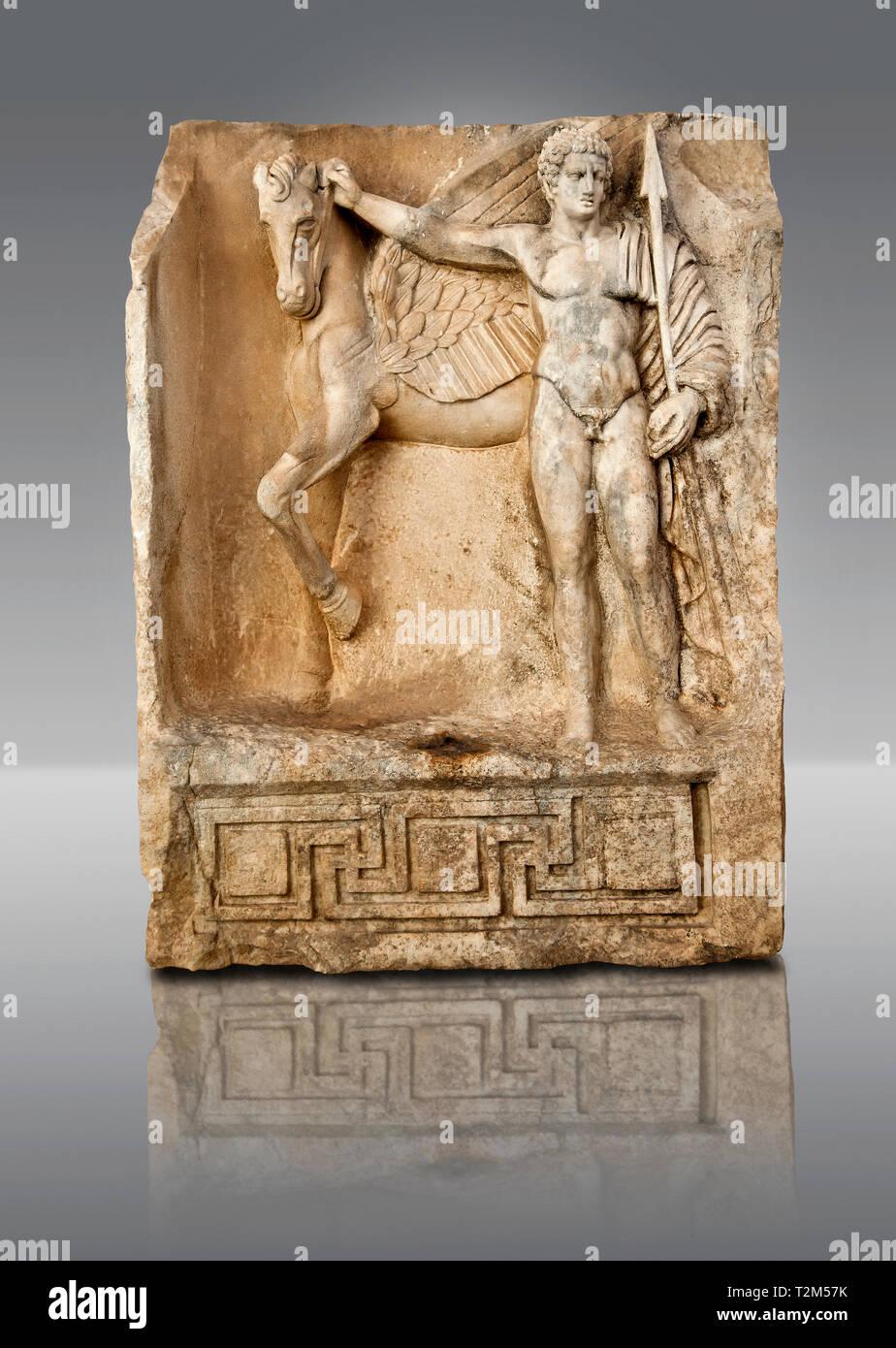 Roman temple freize releif sculpture of Bellerophon, Aphrodisias Museum, Aphrodisias, Turkey. Bellerophon was a Lykian hero who was claimed to be the  - Stock Image