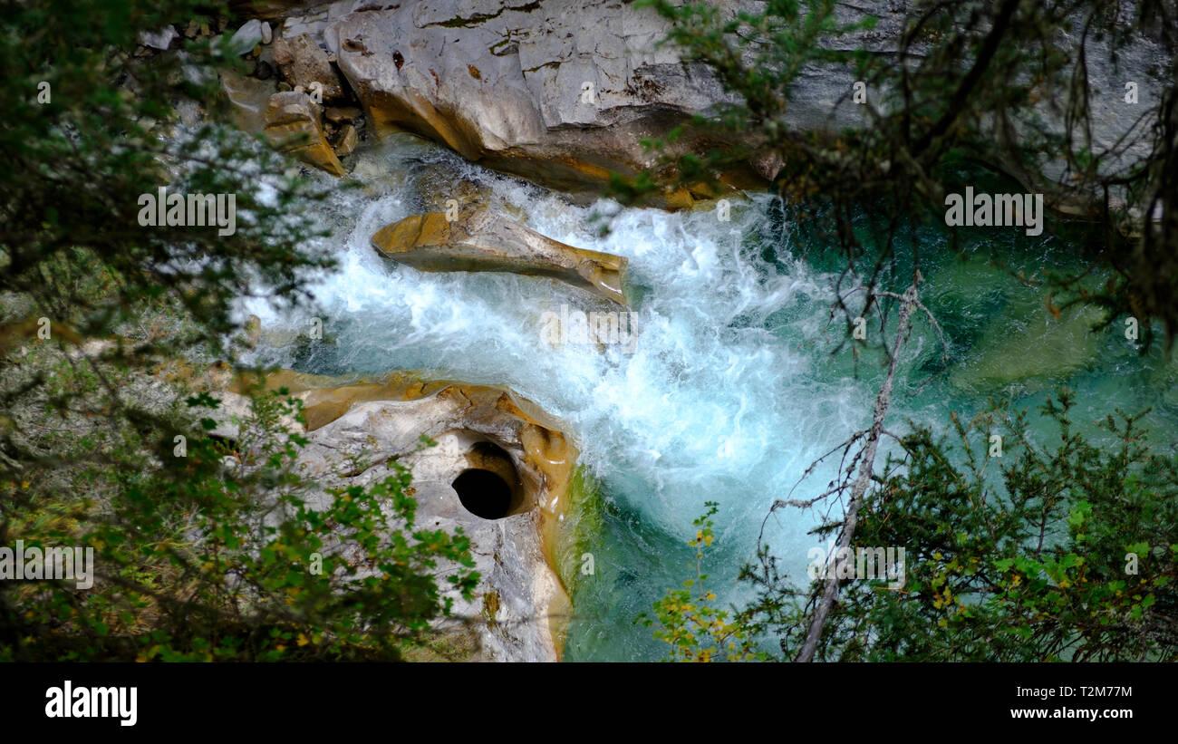 Divided Stream, Johnston Canyon, Alberta, Canada. Stock Photo
