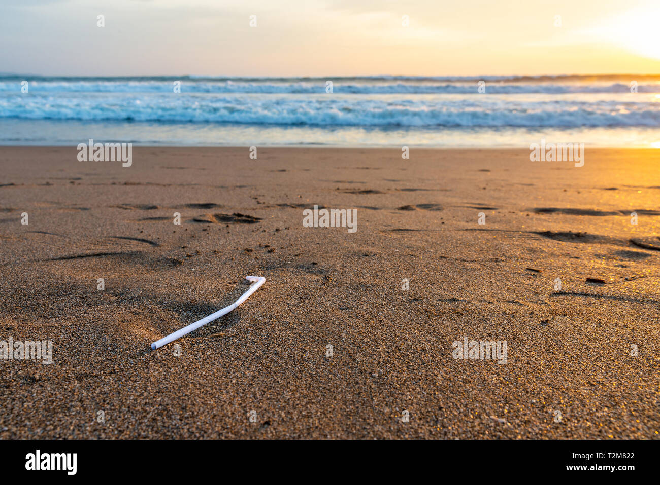 A single plastic straw on a beach at sunset, plastic pollution concept - Stock Image