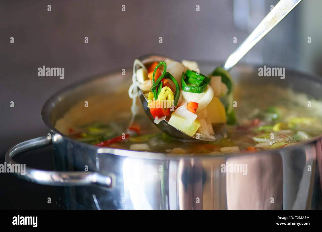 A hot vegetable soup is cooked and stirred in  Pfaffenhofen, April 28, 2019.  © Peter Schatz / Alamy Stock Photos Stock Photo