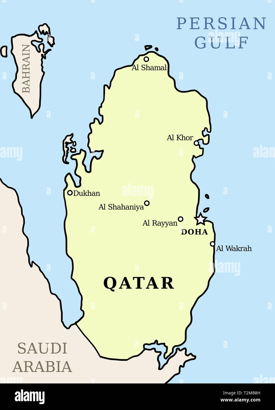 Qatar map. Outline illustration country map with main cities ...