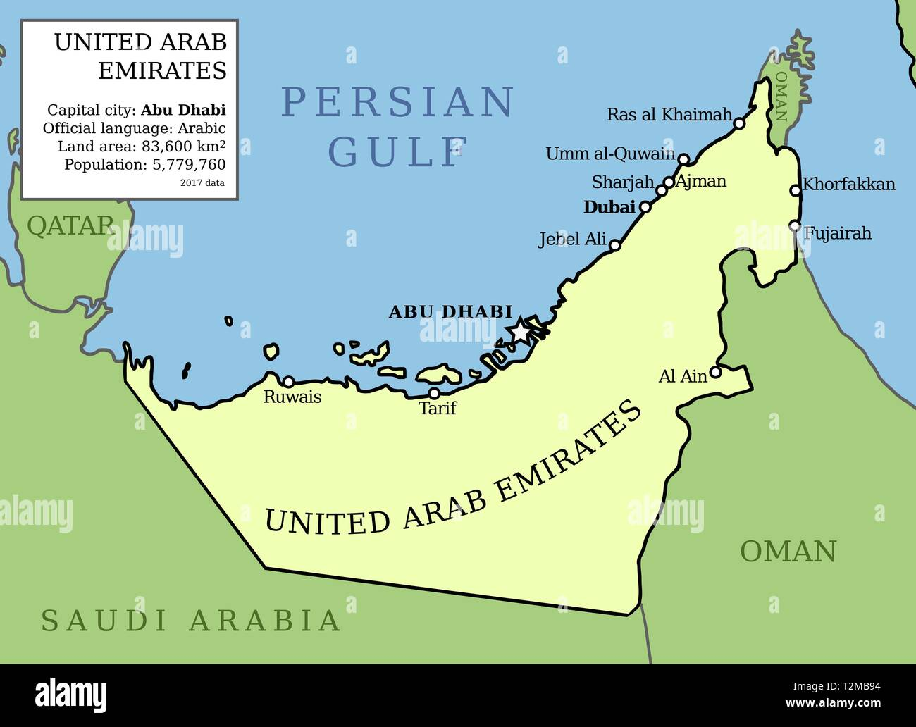 United Arab Emirates Uae Map Outline Vector Country Map With Main Cities And Data Table Stock Vector Image Art Alamy