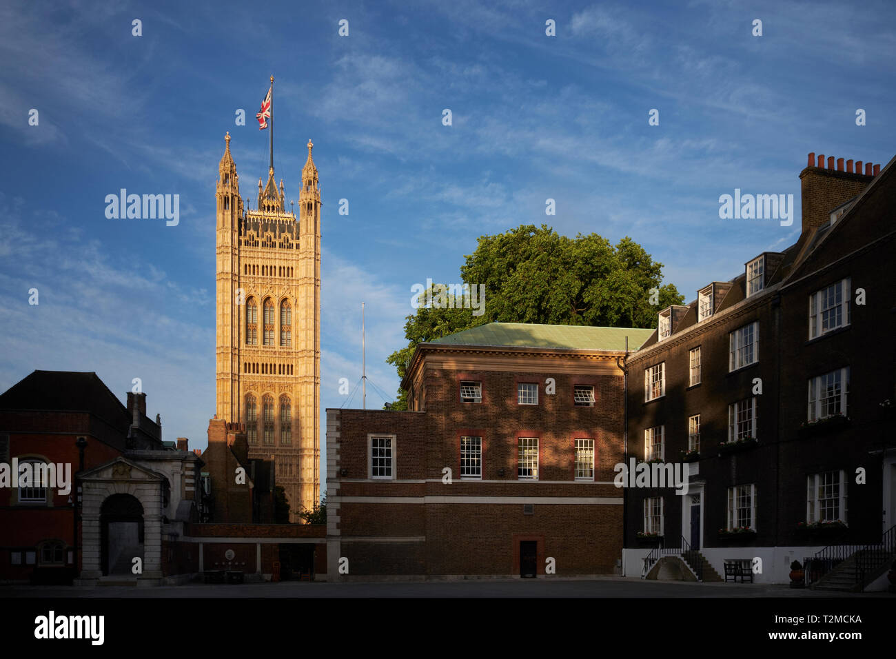 Little Dean's Yard, Westminster School, London, UK, showing Victoria Tower (part of the Palace of Westminster) - Stock Image