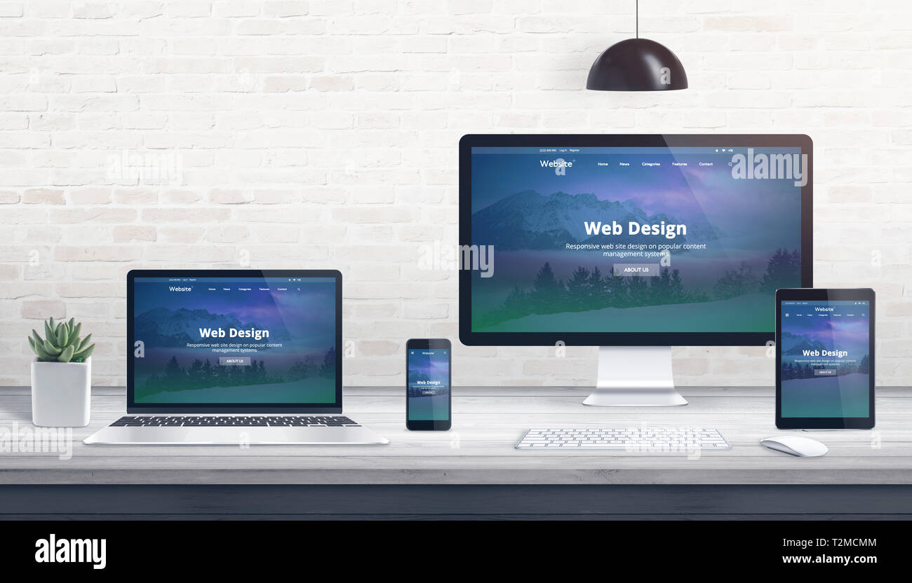 Modern flat design, responsive web site on multiple devices