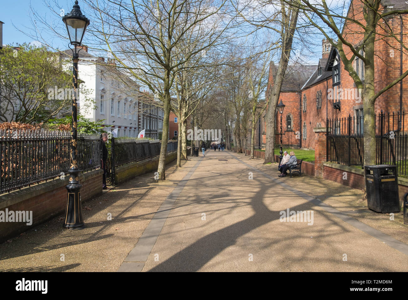New Walk historic pedestrian street in the centre of Leicester, UK - Stock Image