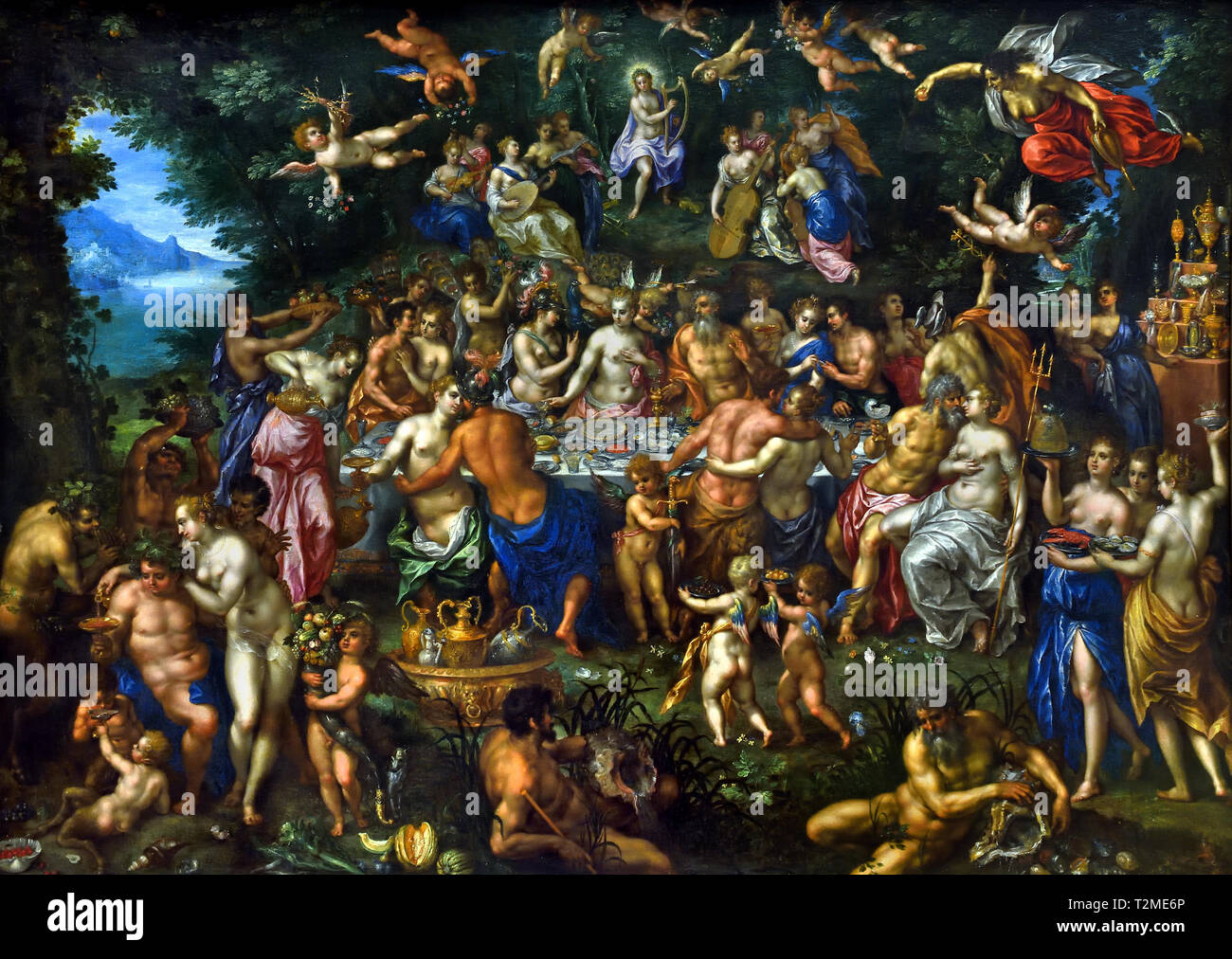 The Nuptials of Thetis and Peleus or The Feast of the Gods ( Metamorphoses by the Latin poet Ovid 1st Century AD ) by Hendrick De Clerck 1570-1629,  Belgian, Belgium, Flemish. Stock Photo