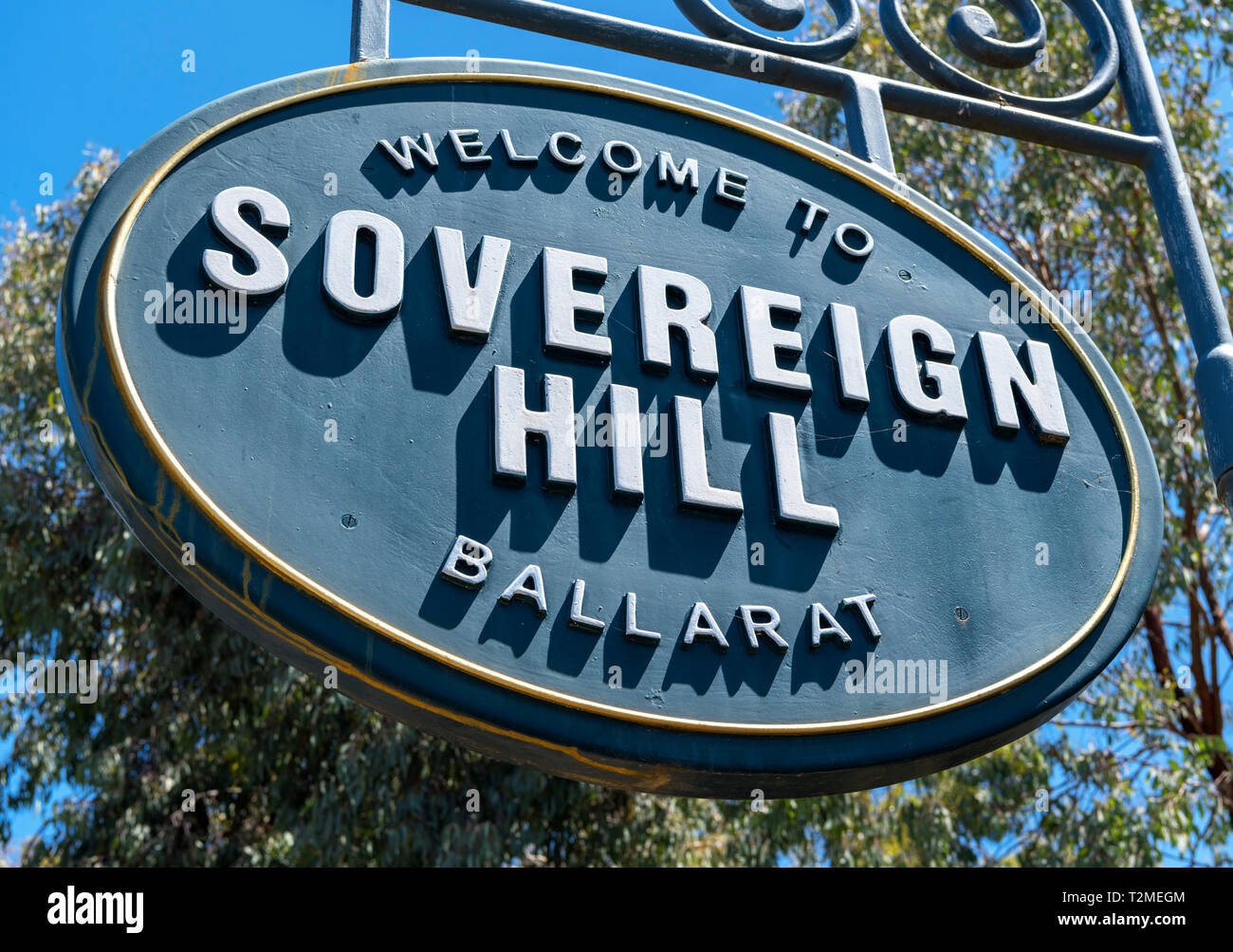 Sign outside Sovereign Hill, an open air museum in the old gold mining town of Ballarat, Victoria, Australia - Stock Image