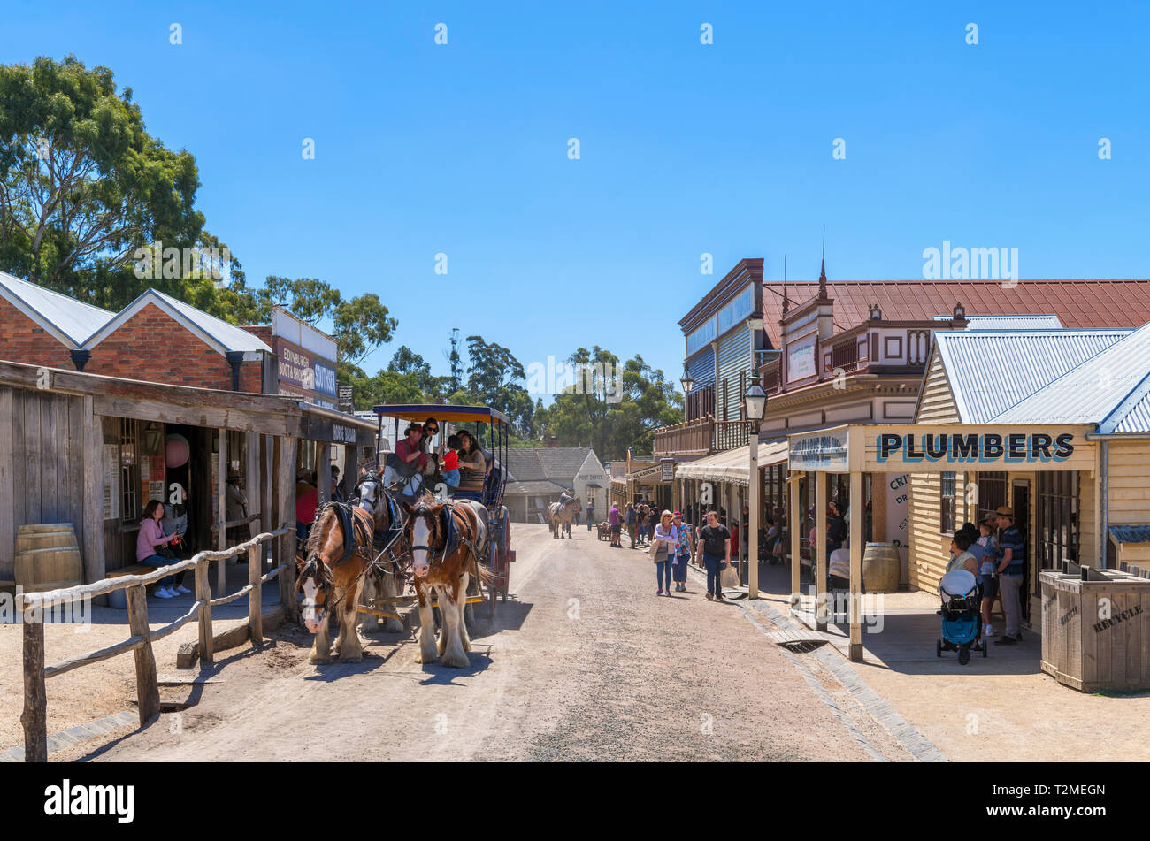 Street in Sovereign Hill, an open air museum in the old gold mining town of Ballarat, Victoria, Australia - Stock Image