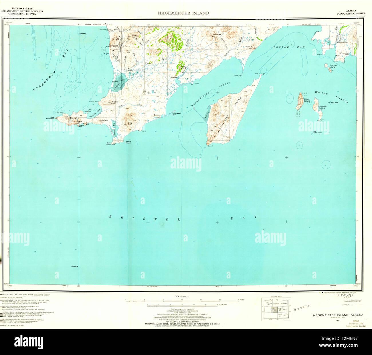 USGS TOPO Map Alaska AK Hagemeister Island 360903 1957 250000 ...