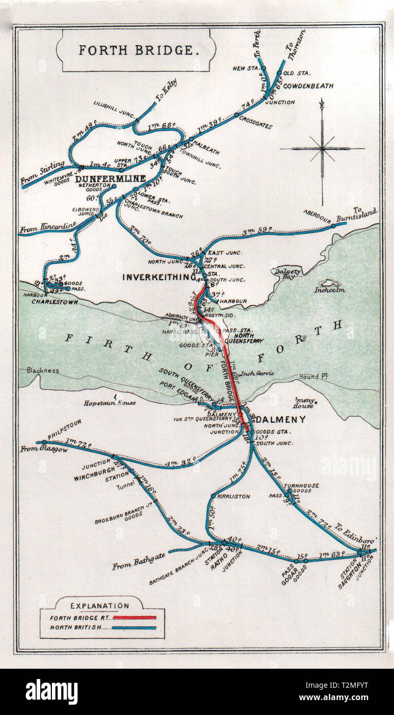 Pre Grouping railway junction around Forth Bridge, circa 1913 - Stock Image