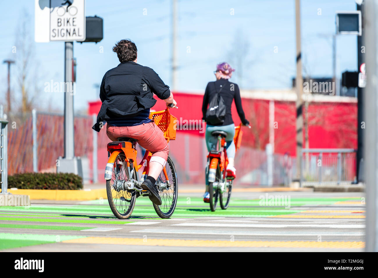 Together with beloved for walk on bicycles to sweat practicing in fast cycling relax at wheel of a bicycle to talk combining business with pleasure le Stock Photo