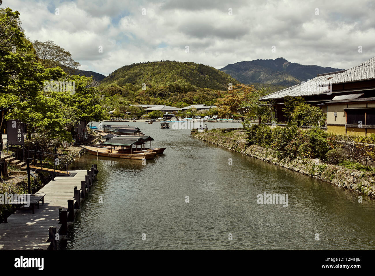 View of the Hozu River on a warm, Spring day in Arashiyama, Japan. - Stock Image