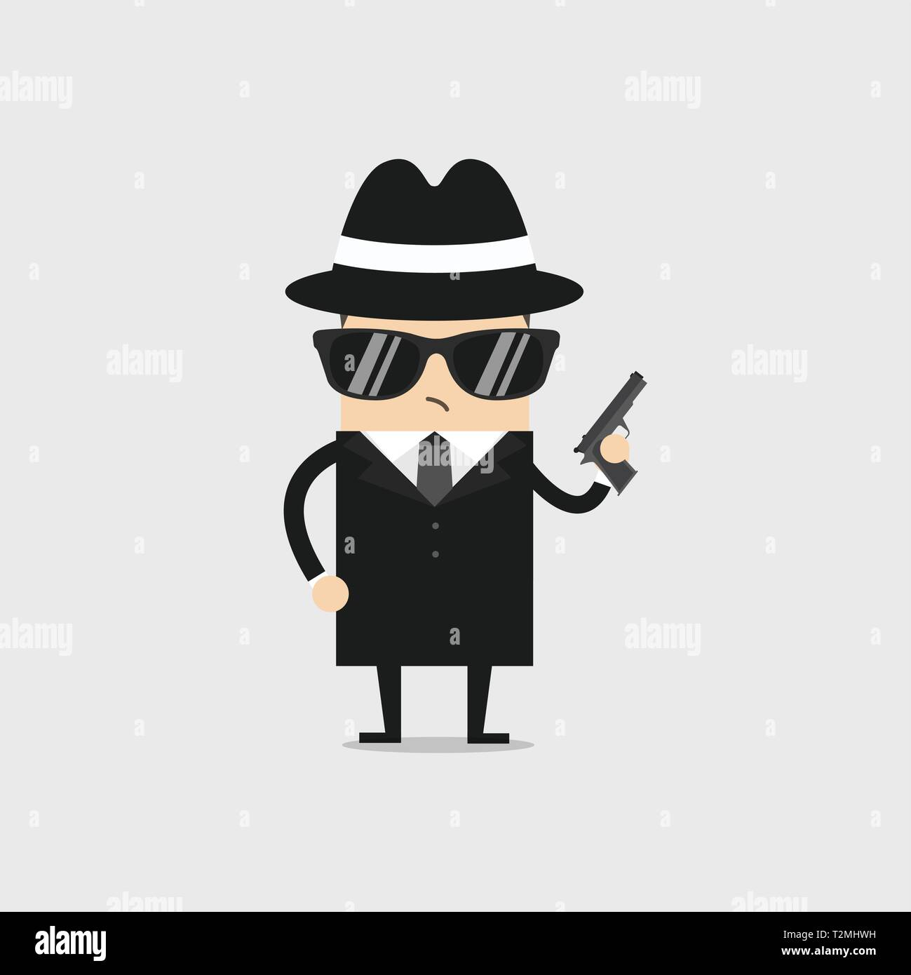 The detective wears black glasses and holds a gun in his hand. - Stock Image