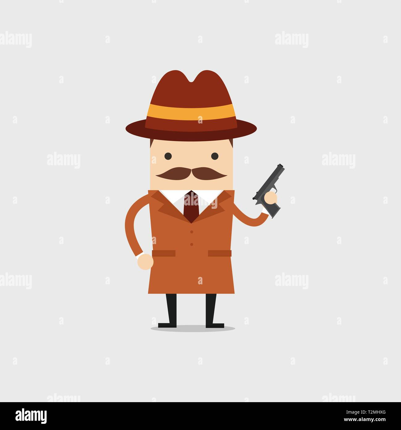 The detective holds a gun in his hand. Police detective and inspector cartoon. - Stock Image