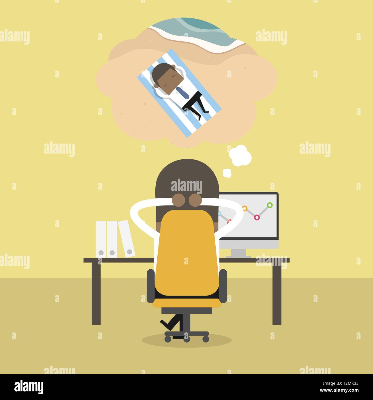 African businessman dreaming about vacation. - Stock Vector