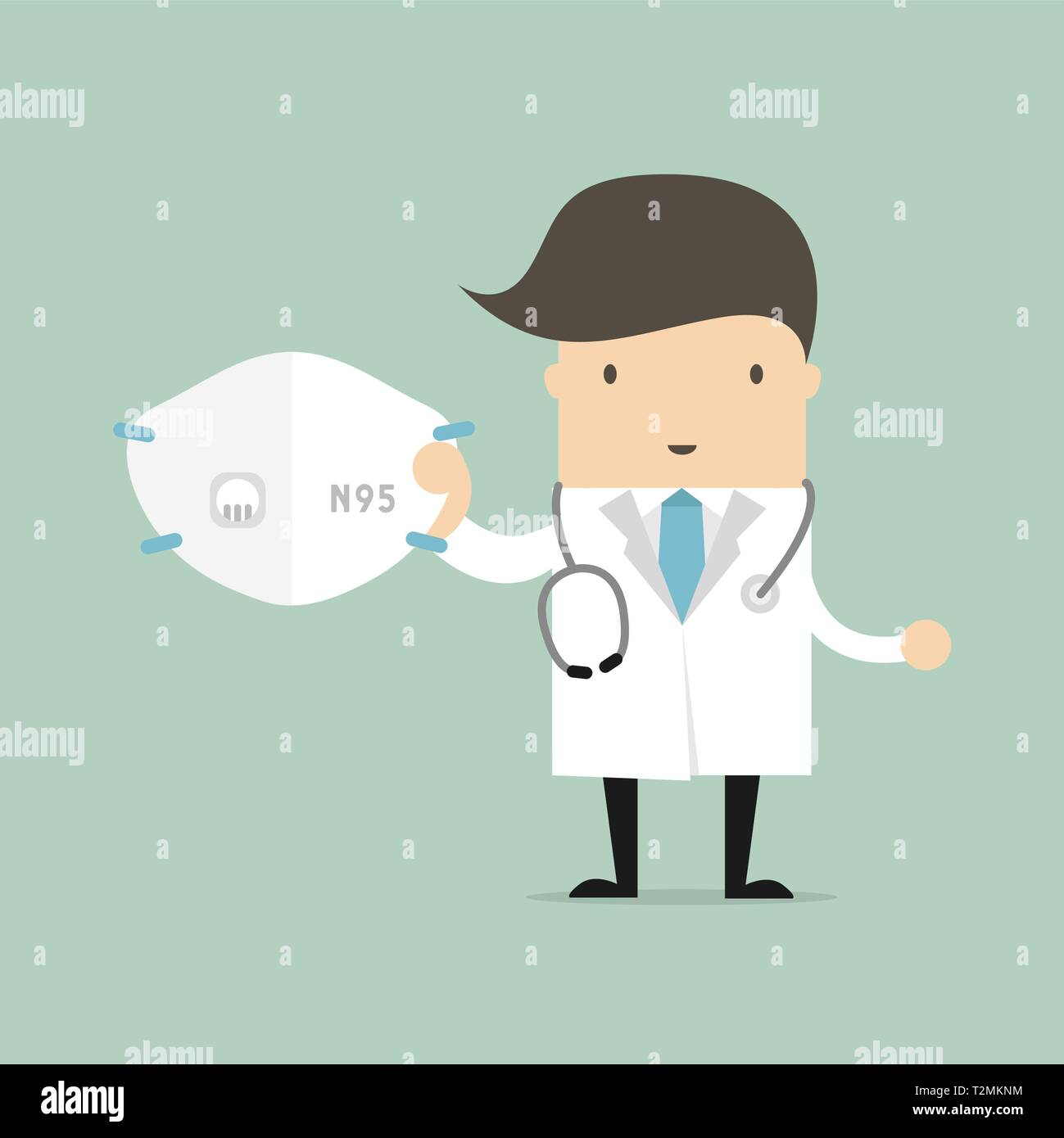 Doctor with N95 mask. Mask for protect outdoor air pollution. - Stock Image
