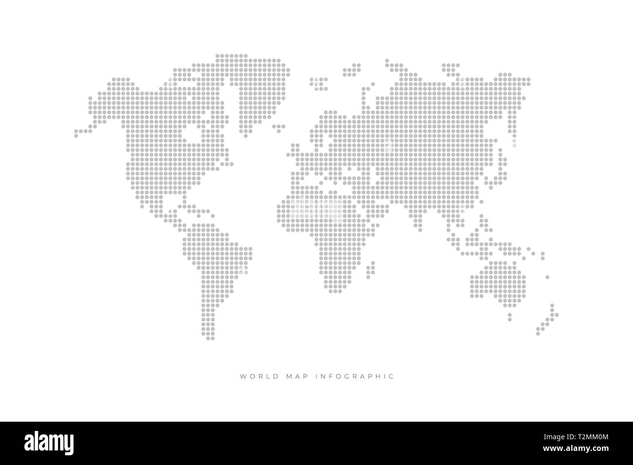 Simple Dotted Political World Map  Template with grey points