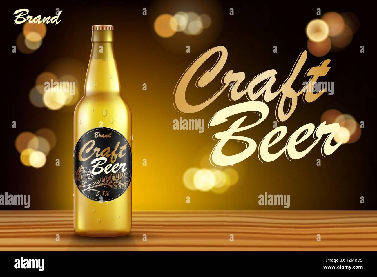 Enjoyable Craft Beer Ads Design Realistic Malt Bottle Beer On Wooden Home Interior And Landscaping Sapresignezvosmurscom