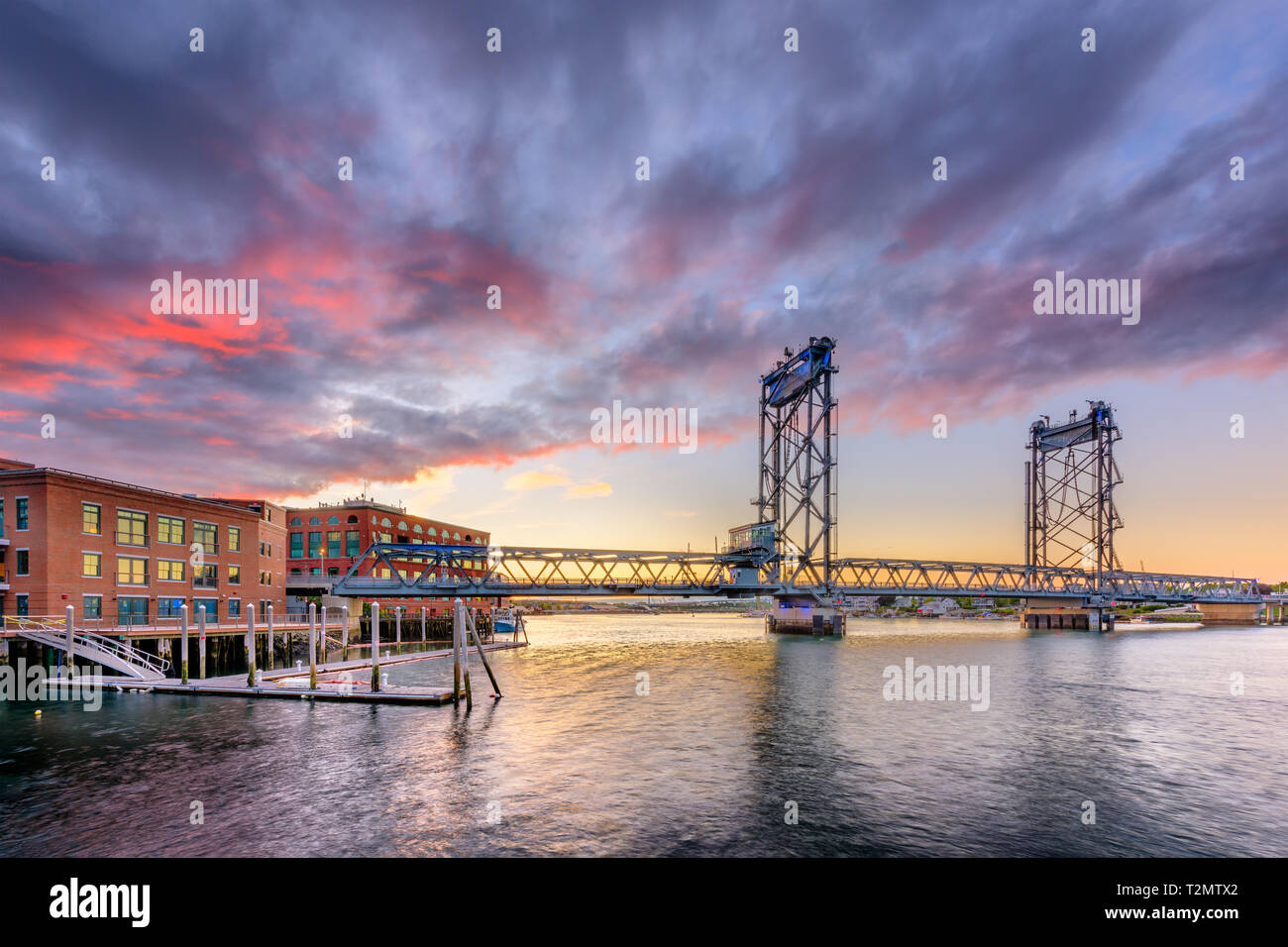 Portsmouth, New Hampshire, USA at Memorial Bridge on the Piscataqua River at dusk. Stock Photo